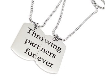Throwing Partners Forever Necklace Set, Baseball Player Gift, Father Son Gift, Softball Necklaces, Pitcher Catcher Necklaces, Graduation