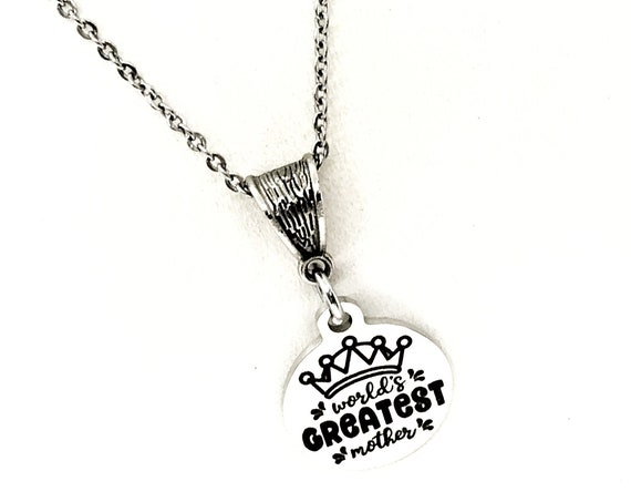Mom Gift, Worlds Greatest Mother Necklace, Gift For Mom, Mothers Day Gift, Mom Birthday, Mother Of the Bride , Mother of the Groom