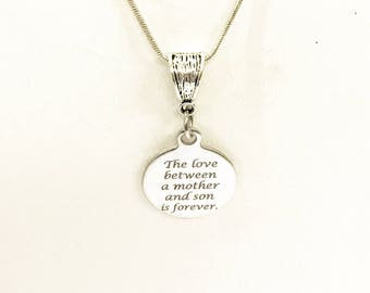 The Love Between A Mother And Son Is Forever Pendant on Silver Chain, New Mom Gift, Mom of Son Gift, Mom Gift For Mom,  Mother's Day