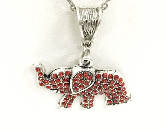 Red Elephant Necklace, Crystal Red Elephant, Red Elephant Pendant, Good Luck Jewelry, Good Luck Gift, Red Elephant Jewelry, Elephant Gift