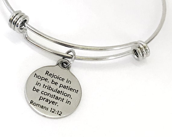 Christian Jewelry, Christian Bracelet, Christian Gift, Scripture Jewelry Rejoice In Hope Bracelet, Daughter Jewelry Gift, Romans 12 12