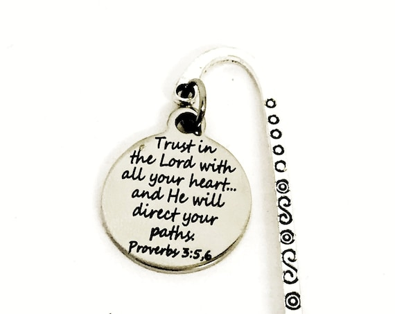 Bookmark Gift, Trust In The Lord With All Your Heart Bookmark, Bible Bookmark, Bullet Journal Gift, Planner Accessories, Baptism Gift