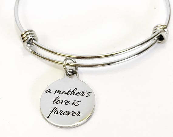 A Mother's Love Is Forever Expanding Bangle Charm Bracelet, Stacking Bangle, Jewelry Gift For Daughter, New Mother Gift For Her