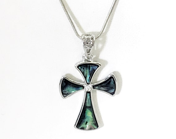 Cross Necklace, Simulated-Shell Cross Pendant, Blue and Green Cross Necklace, Christian Faith Gift, Christian Jewelry, Christian Necklace