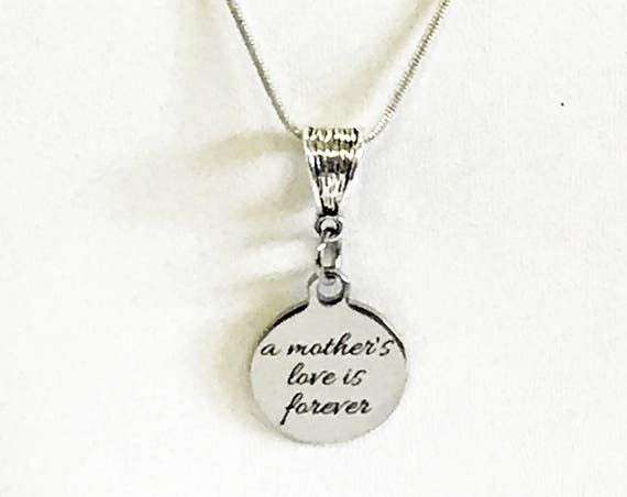 A Mother's Love Is Forever Necklace, Silver Pendant Necklace, Gift For Daughter, New Mother Gift, New Mom Gift For Wife, Daughter New Baby
