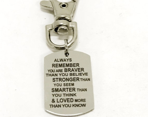 Bag Charm, Braver Stronger Smarter Loved Charm Clip, Bag Clip, Keychain Clip, Gift For Son, Gift For Daughter, Sports Bag Charm Clip