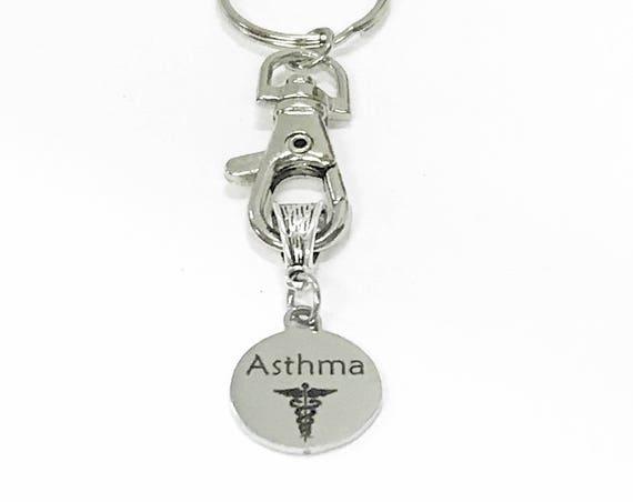 Asthma Medical ID Awareness Keychain, Asthma Keychain, Asthma Condition Awareness, Medical Notification Keychain, Asthma Keychain Gift