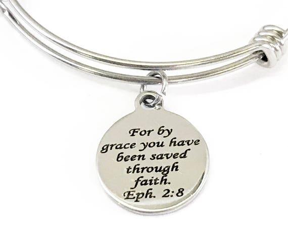 Christian Gifts, Saved By Grace Through Faith Bracelet, Eph 2 8 Bracelet, Christian Girls Group Gifts, Teen Girl Faith Gifts, Baptism Gift