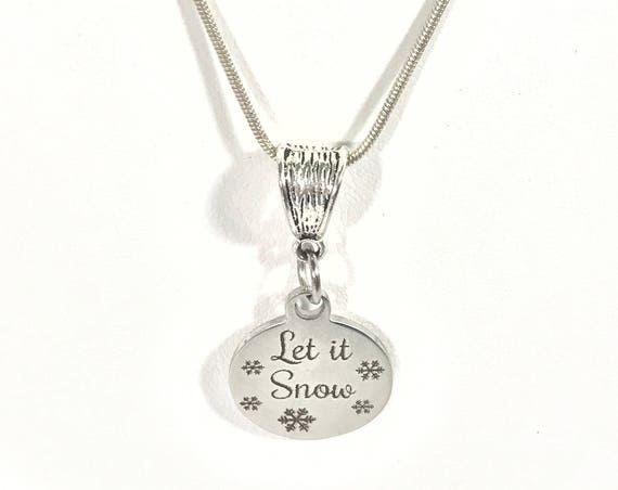 Let It Snow Silver Necklace, Christmas Outfit Jewelry, Christmas Jewelry, Winter Jewelry, Winter Necklace, Let It Snow Necklace, Let It Snow