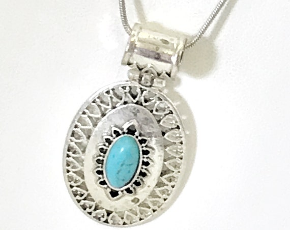 Southwestern Style Jewelry, Southwestern Necklace, Silver and Blue Necklace, Turqouise Howlite Necklace, Cowgirl Jewelry Gift For Her