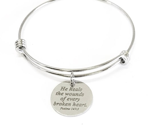 He Heals The Wounds Of Every Broken Heart Expanding Bangle Charm Bracelet, Psalms 147:3 Scripture Gift for Her, Bible Verse Sympathy Gift