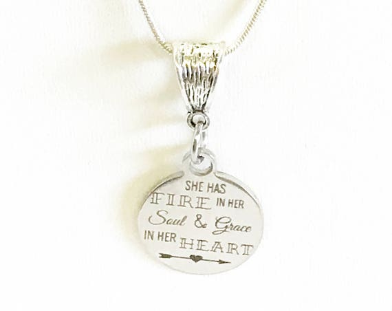 She Has Fire In Her Soul and Grace In Her Heart Pendant Necklace, Inspirational Jewelry, Graduation Gift, Motivational Necklace Gift For Her