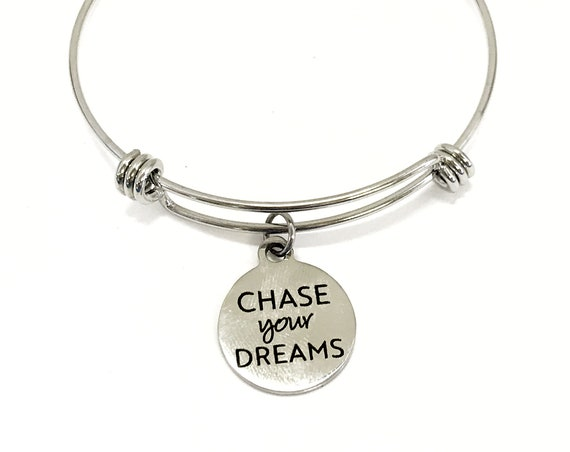 Charm Bracelet, Chase Your Dreams Bracelet, Expanding Bangle, Charm Bangle, Daughter Jewelry, Daughter Bracelet Gift, Stainless Charm
