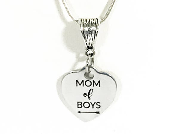 Gift For Mom, Mom of Boys Necklace, Silver Necklace for Mom, Boys Mom Gift, Mom of Boys Jewelry Gift, Mom Valentine Gift, Mom Gift Necklace