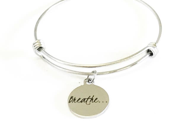 Breathe Expanding Bangle Charm Bracelet Gift, Mindfulness Encouragement Jewelry Gift for Her, Motivational Jewelry, Going to College Gift