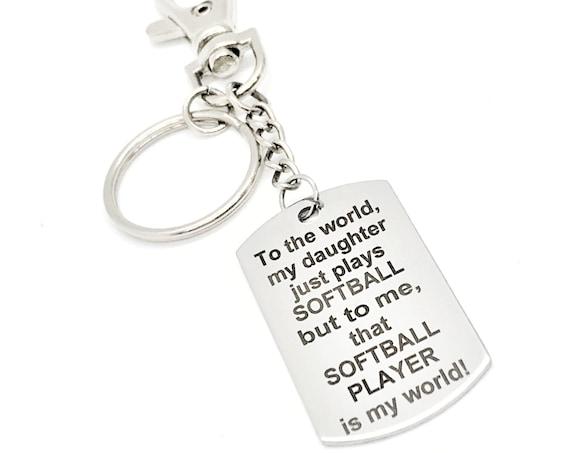 Softball Mom Gift, Softball Mom Keychain, My Daughter Plays Softball, Softball Player Is My World, Softball Dad Gift, Softball Dad Keychain