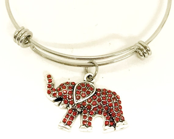 Red Elephant Bracelet, Red Elephant Jewelry, Charm Bracelet, Red Elephant Charm, Power Bracelet, Good Luck Gift, Good Luck Bracelet