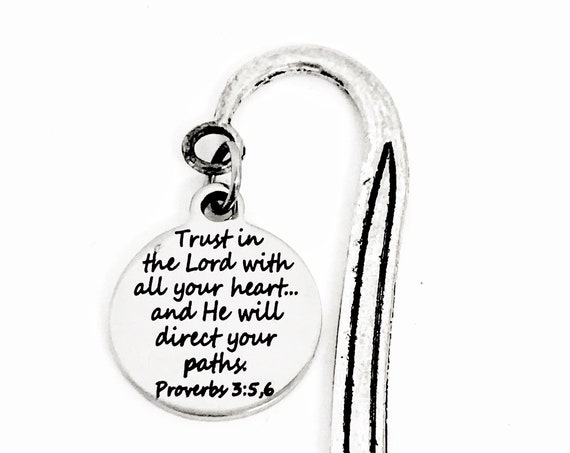 Christian Bookmark, Trust In The Lord With All Your Heart Bookmark, Christian Gift, Christian Charm, Religious Bookmark, Scripture Gift