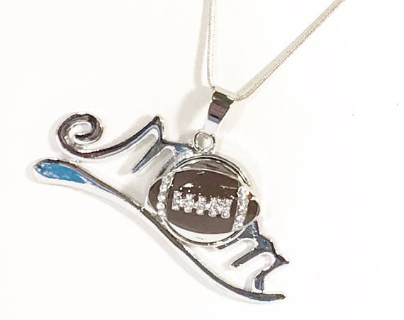 Football Mom Necklace, Proud Football Mom, Gift for Mom, Football Jewelry, Mom of Football Player, Football Snap, Gift For Her, Mom Snap