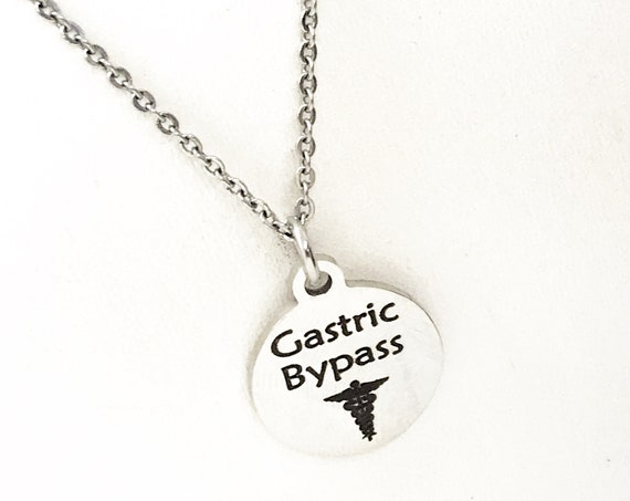 Gastric Bypass Necklace, Gastric Bypass Medical Necklace, Weight Loss Surgery, Weight Loss Jewelry, Medical ID Jewelry, Medical Caduceus