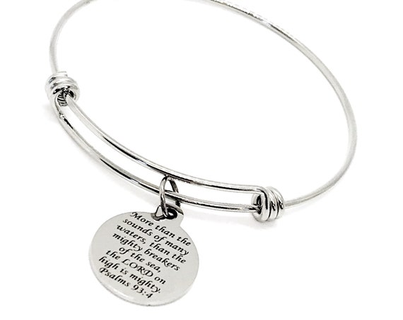 Scripture Gift, The Lord Is Mighty On High Bracelet, Scripture Quote, Charm Bangle, Faith Gift, Christian Jewelry, Bible Verse Jewelry