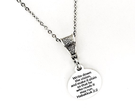 Motivation Gift, Write Down The Vision Necklace, Habakkuk 2 2, Encouraging Quote, Scripture Quote, Scripture Motivation, Scripture Gift