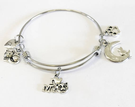 Cat Mom Gift, Cat Jewelry, Cat Mom Expandable Bangle Charm Bracelet, I Love My Cat, Cat Jewelry, Cat Charm Bracelet, Cat Lover Jewelry