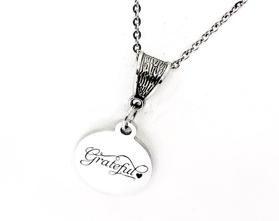 Word Necklace, Grateful Necklace, Gift For Her, Your Word Necklace, Grateful Word, Grateful For You, Grateful For Everything, Grateful Gift