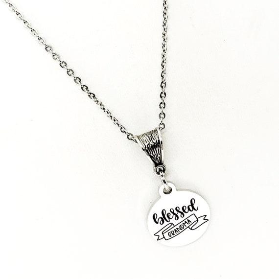 Grandma Gift, Blessed Grandme Necklace, Gift For Grandma, Grandparents Day Gift, Grandma Birthday, Grandma Of Bride, Grandma of the Groom