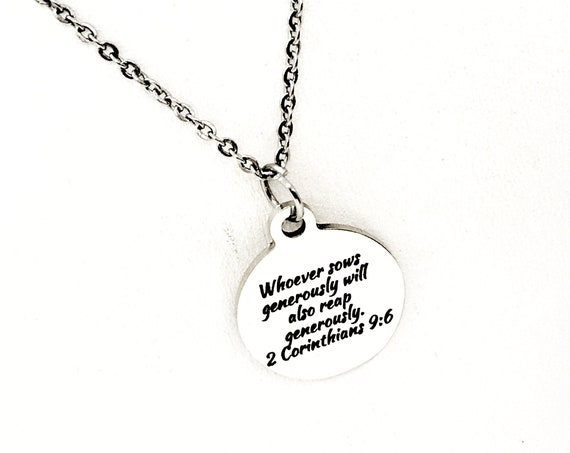 Scripture Gift, Whoever Sows Generously Will Also Reap Generously Necklace, 2 Corinthians 9 6, Scripture Jewelry, Scripture Quote