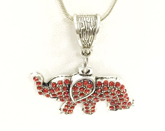 Red Elephant Jewelry, Red Elephant Necklace, Good Luck Jewelry, Crystal Red Elephant Gifts, Good Luck Gifts, Power Jewelry, Power Gifts