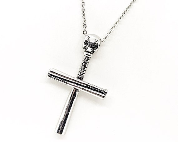 Baseball Bat Cross Necklace, Baseball Necklace, Cross Necklace,  Baseball Gift, Baseball Player Gift, Baseball Son, Son Christmas Gift