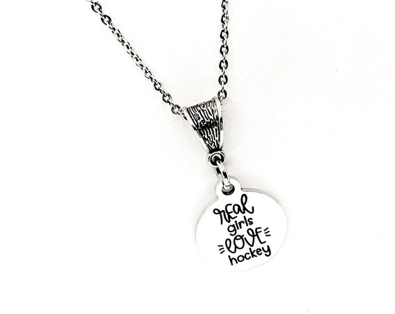 Real Girls Love Hockey Necklace, Hockey Lover Gift, Hockey Girlfriend, Hockey Fan Necklace, Hockey Jewelry, Hockey Mom Gift