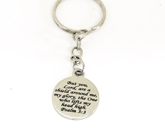 Christian Gift, Christian Keychain, The Lord Is My Shield Keychain, Psalm 3 3 Keychain, Daughter Gift, Christian Charm, Religious Gift