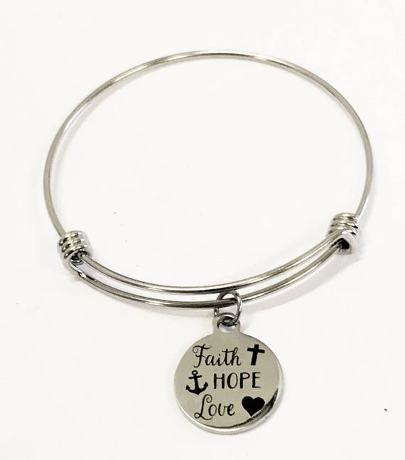 Faith Hope Love Bracelet, 1 Cor 13 Stacking Bangle, 1 Cor 13 Jewelry, Stacking Charm Bracelet, Scripture Jewelry Gift, Inspirational Gift