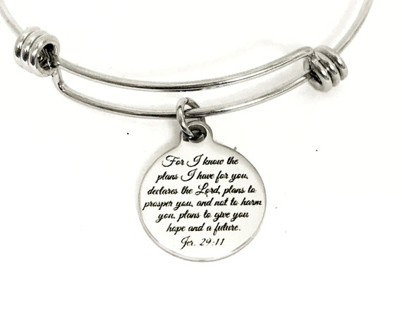 Christian Gift, For I Know The Plans I Have For You Bracelet, Jeremiah 29 11 Gift, Christian Jewelry, Jer 29 11 Gift, Christian Bracelet