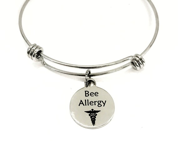 Bee Allergy Medical Charm Bracelet, Bee Allergy Awareness, Bee Allergy Jewelry, Anaphylaxis Medical Notification, Medical Awareness