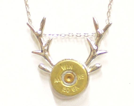 Deer Antlers Shotgun Shell Necklace, Country Western Shotgun Shell Jewelry Gift For Her, Hunting Jewelry, Deer Horns Jewelry Girlfriend Gift