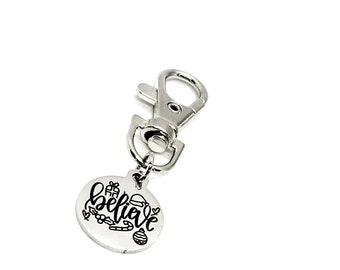 Xmas Gift Keychain Daughter Fairy Gift Personalized Zipper Pull Fairy Moon Bagcharm Purse Charm Cute Keychain for Girlfriend Silver Keyfob