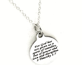discipline etsy 1945 Liberty Half Dollar Not scripture jewelry god has not given us a spirit of timidity but of power and love and discipline 2 timothy 1 7 bible verse necklace
