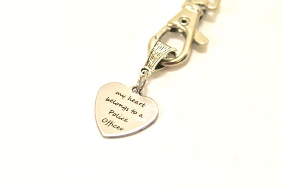 My Heart Belongs To A Police Officer Keychain, Police Wife Gift, Police Officer Wife Gift, Gift For Her, Wife Jewelry Gift, Keychain Gift