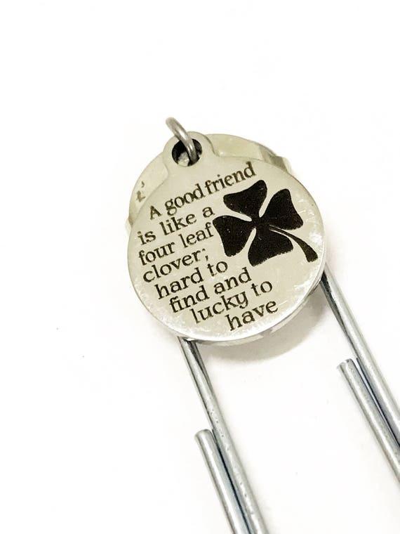 Friend Bookmark, Four Leaf Clover Bookmark, Best Friend Gift, Planner Paper Clip Bookmark, Best Friend Bookmark, BFF Gift, Good Friend Gift