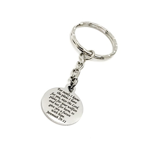Scripture Gift, For Surely I Know The Plans I Have For You Keychain, Jeremiah 29 11, Faith Gift, Plans To Prosper You, God's Plans
