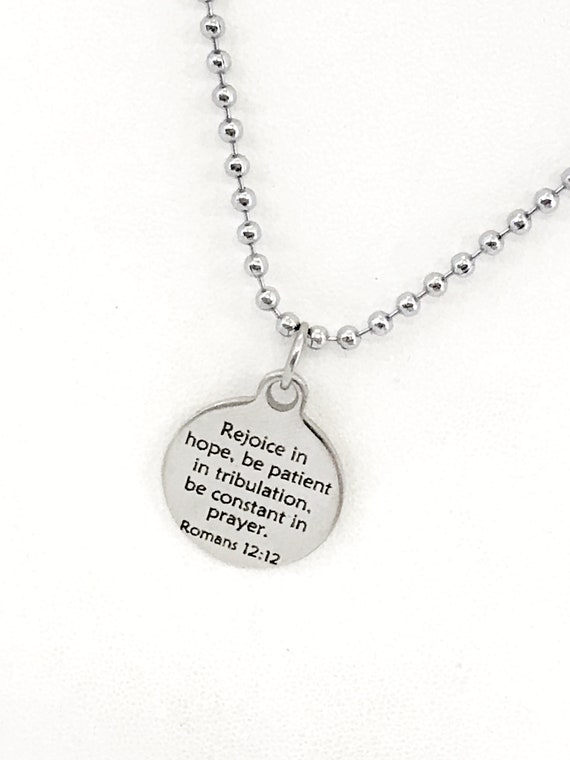Christian Necklace, Rejoice In Hope Necklace, Christian Man Gift, Christian Son Gift Necklace, Romans 12 12 Necklace, Sympathy Gift For Him