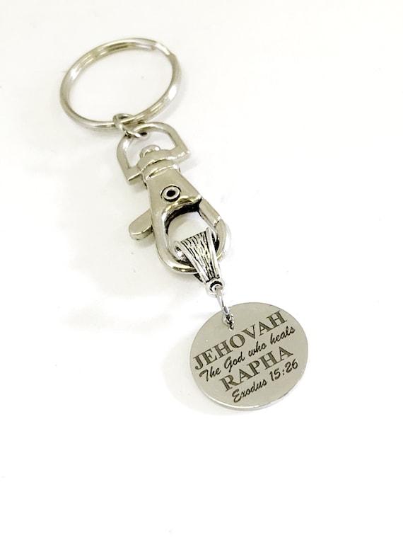 Christian Keychain, Jehovah Rapha Keychain, God Who Heals, Christian Gifts, Christian Charm, Keychain Gift, Exodus 15 26 Gift, Sickness Gift