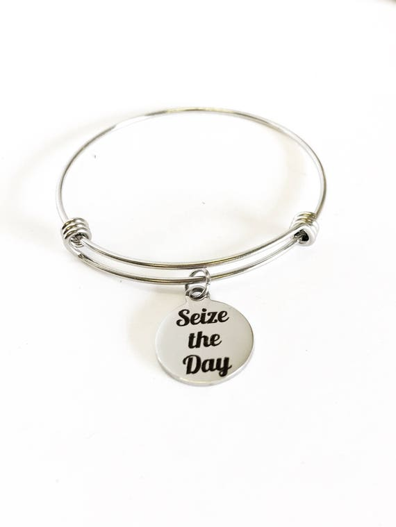 Seize The Day Stacking Expanding Bangle Charm Bracelet, Motivational Jewelry Gift, Encouragement Gift, Girlfriend Gift For Her, Motivating