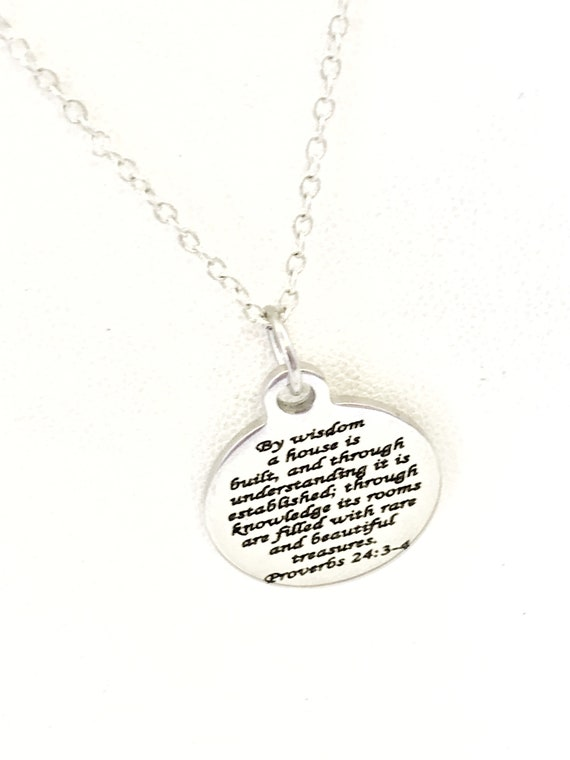 Christian Jewelry, Christian Marriage Necklace, Christian Wedding Necklace Gift, Proverbs 24 3 and 4 Scripture Jewelry, Christian Gifts
