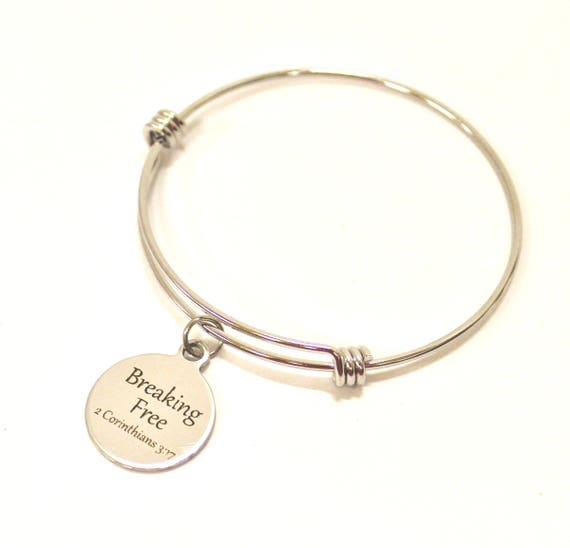 Freedom with the Spirit of the Lord Expanding Bangle Charm Bracelet, 2 Cor 3 17 Bible Verse Gift for Her, Christian Jewelry Gift Bracelet