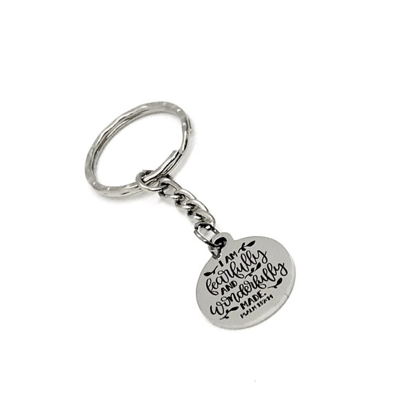Scripture Gift, I Am Fearfully And Wonderfully Made Keychain, Scripture Quote, Psalm 139 14 Bible Verse Gift, Bible Verse Keychain