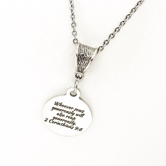 Scripture Gift, Whoever Sows Generously Will Also Reap Generously Necklace, 2 Corinthians 6 9, Scripture Quote, Christian Gift